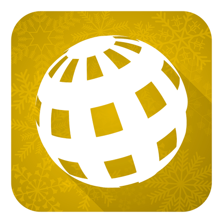 parallels: earth flat icon, gold christmas button