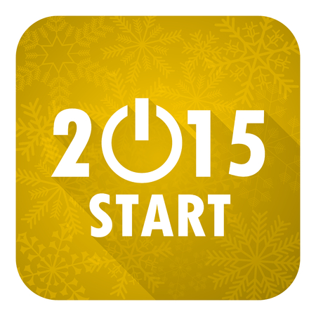 new year 2015 flat icon, gold christmas button, new years symbol photo