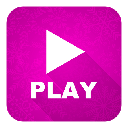 play violet flat icon, christmas button