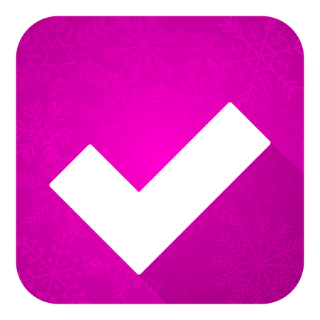 approval button: accept violet flat icon, christmas button, check sign