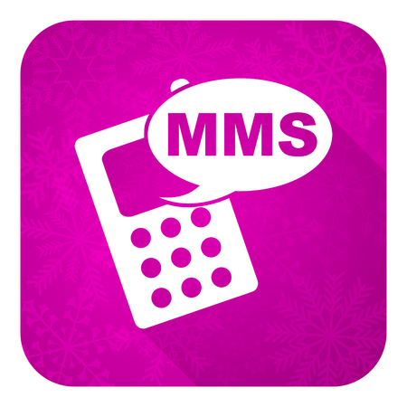 mms: mms violet flat icon, christmas button, phone sign