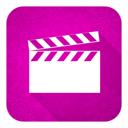 hollywood christmas: video violet flat icon, christmas button, cinema sign