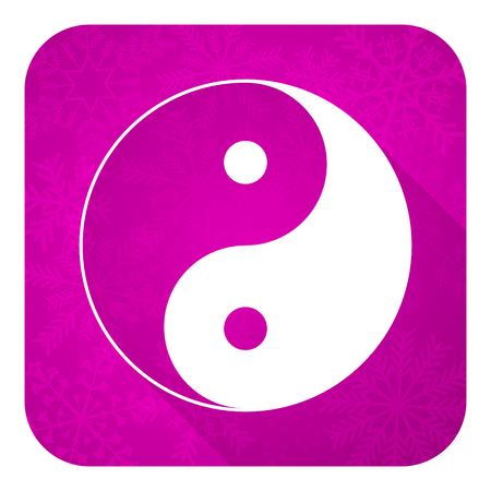 ying yang: ying yang violet flat icon, christmas button