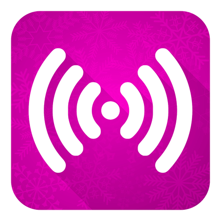 wireless hot spot: wifi violet flat icon, christmas button, wireless network sign