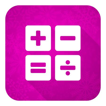 calc: calculator violet flat icon, christmas button, calc sign