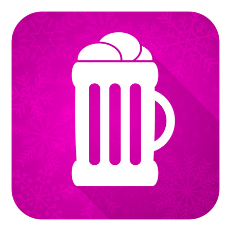 winter wheat: beer violet flat icon, christmas button, mug sign Stock Photo