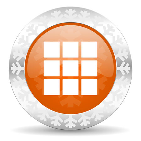 thumbnails: thumbnails grid orange icon, christmas button, gallery sign