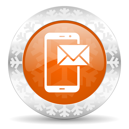 mail orange icon, christmas button, post sign photo