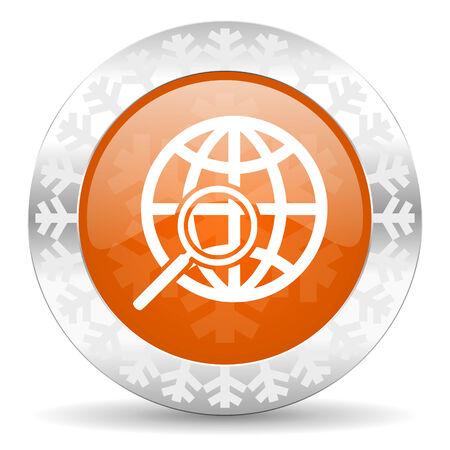 search orange icon, christmas button photo