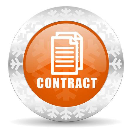 contract orange icon, christmas button photo