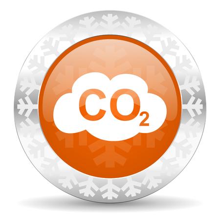 co2: carbon dioxide orange icon, christmas button, co2 sign