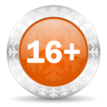 adults: adults orange icon, christmas button