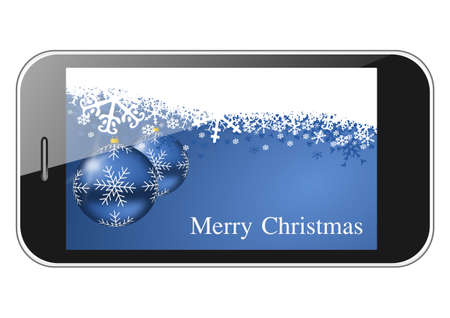 merry christmas illustration with smartphone illustration