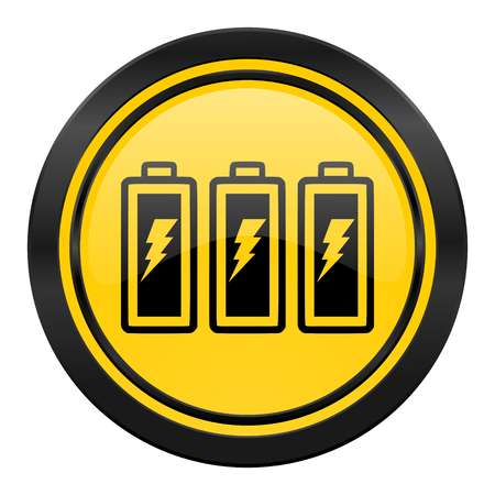 battery icon: battery icon, yellow, power sign
