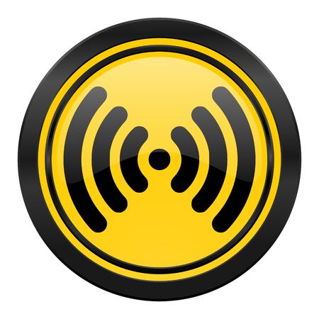 wifi icon: wifi icon, yellow logo, wireless network sign Stock Photo