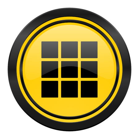thumbnails: thumbnails grid icon, yellow, gallery sign Stock Photo