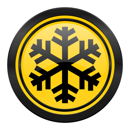 snow icon, yellow logo, air conditioning sign photo