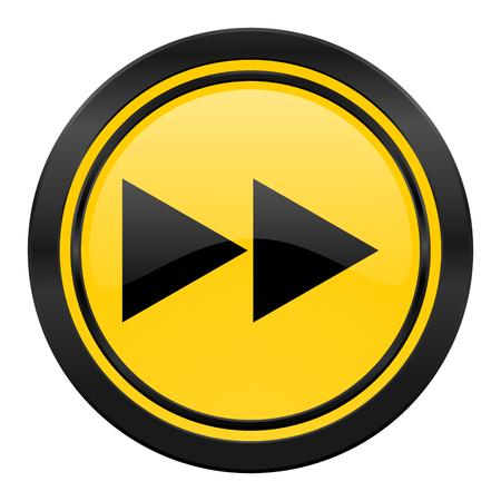 rewind icon: rewind icon, yellow Stock Photo