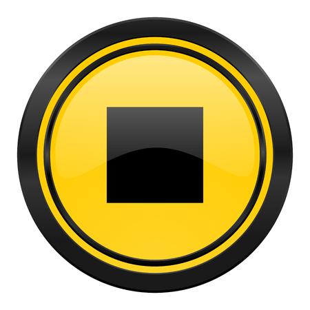 stop icon: stop icon, yellow Stock Photo