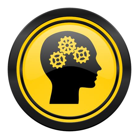 head icon, yellow, human head sign photo