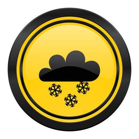 snowing icon, yellow, waether forecast sign photo