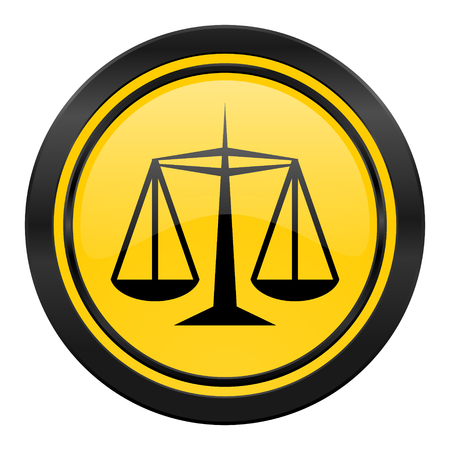 justice icon, yellow, law sign photo