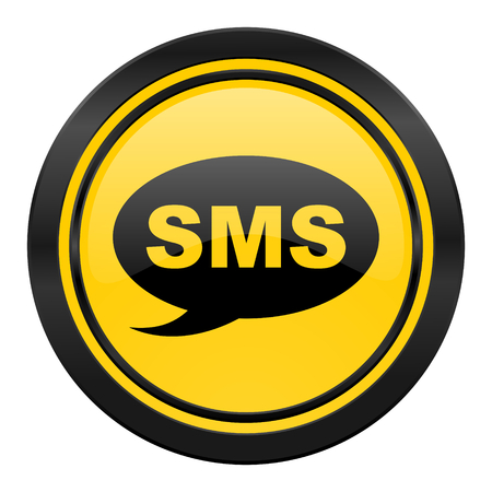 sms icon, yellow, message sign photo