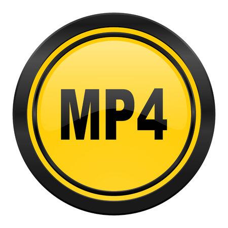 mp4: mp4 icon, yellow Stock Photo