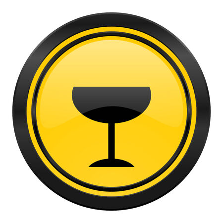 champain: alcohol  icon, yellow, glass sign