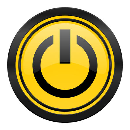 run off: power icon, yellow, on off sign