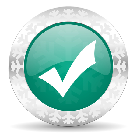 answer approve of: accept green icon, christmas button, check sign