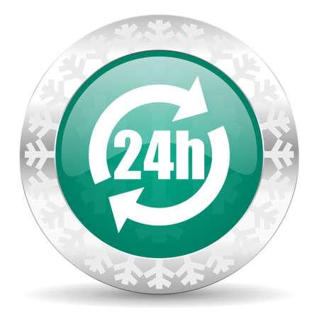 24h: 24h green icon, christmas button
