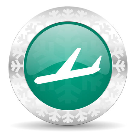 arrivals: arrivals green icon, christmas button, plane sign Stock Photo