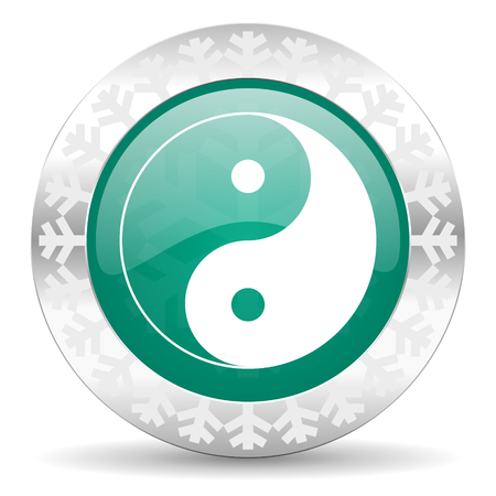 ying and yang: ying yang green icon, christmas button
