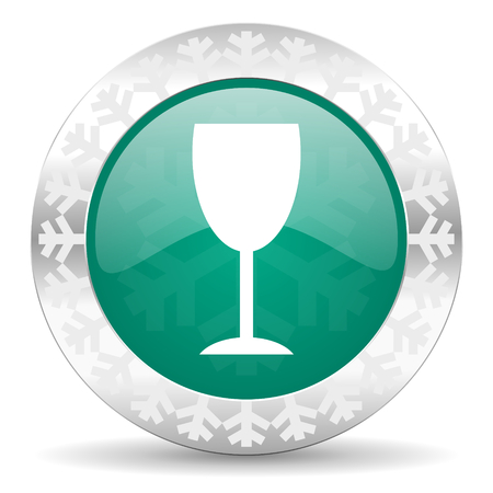 champain: alcohol  green icon, christmas button, glass sign Stock Photo