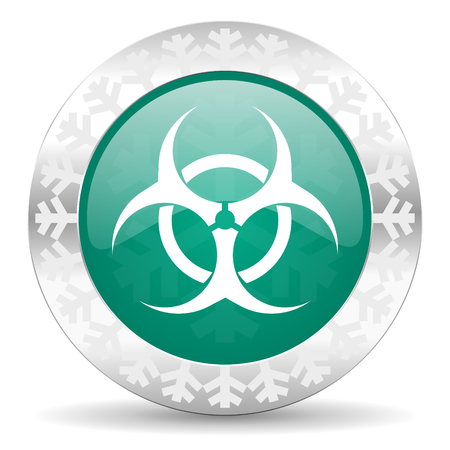 bacterioa: biohazard green icon, christmas button, virus sign Stock Photo