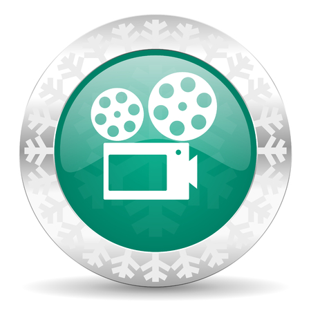 movie green icon, christmas button, cinema sign photo