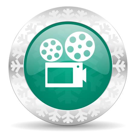 hollywood christmas: movie green icon, christmas button, cinema sign