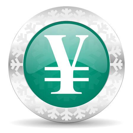 yen: yen green icon, christmas button Stock Photo