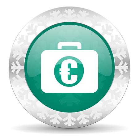 christmas profits: financial green icon, christmas button