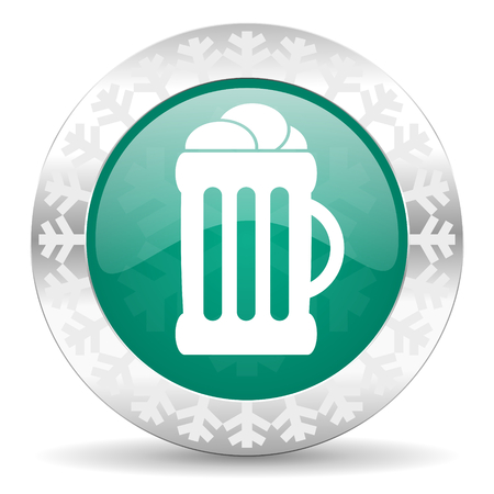 cereal bar: beer green icon, christmas button, mug sign
