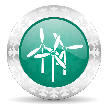 windmill green icon, christmas button, renewable energy sign photo