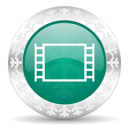 movie green icon, christmas button photo