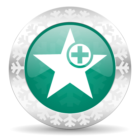 the favourite: star green icon, christmas button, add favourite sign Stock Photo