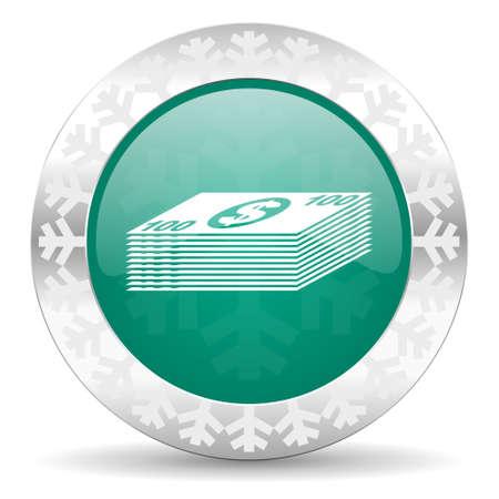 money green icon, christmas button, cash symbol photo