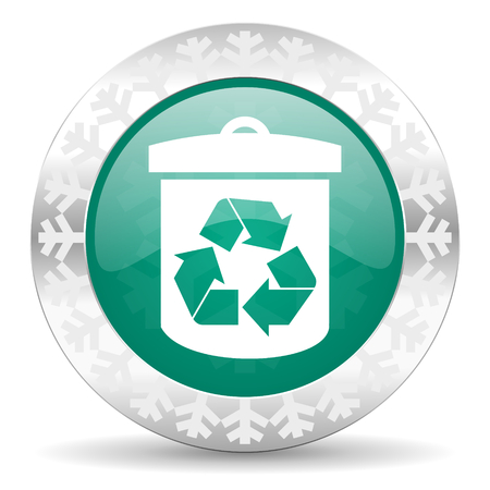 recycle green icon, christmas button, recycling sign photo