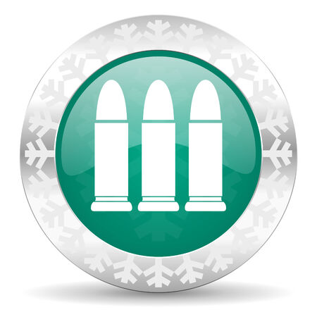 ammunition: ammunition green icon, christmas button, weapoon sign Stock Photo