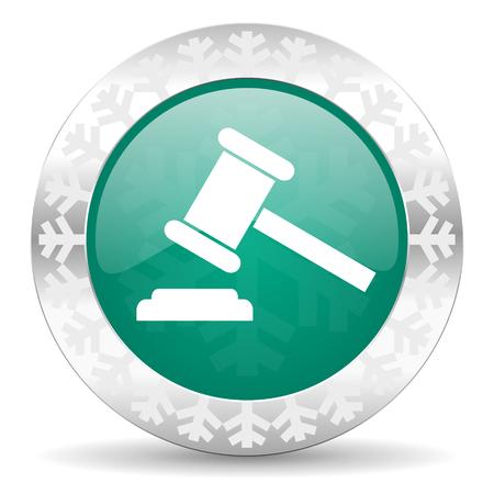 verdict: auction green icon, christmas button, court sign, verdict symbol Stock Photo