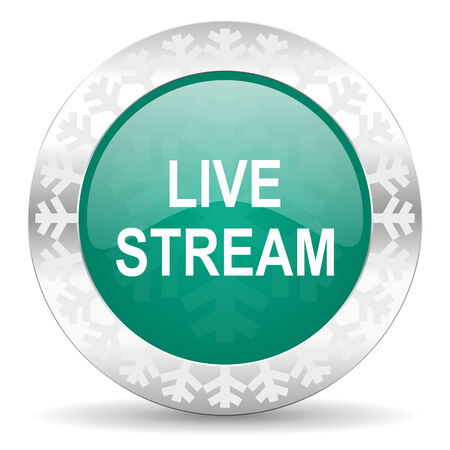 news cast: live stream green icon, christmas button
