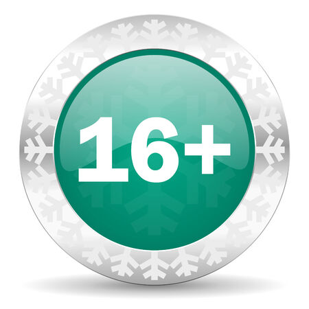 adults green icon, christmas button photo